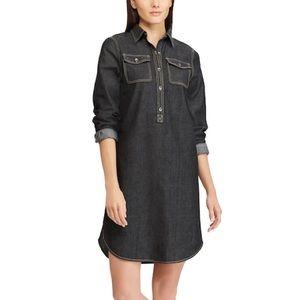 Women's Chaps Jean Shirt Dress in Black Rinse
